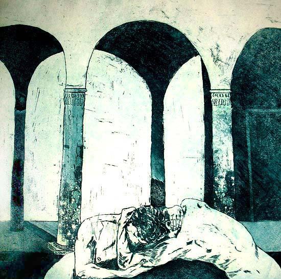 22.       De ets. Twee lichamen, die elkaar raken  (Hannie Schuuring, 1993)